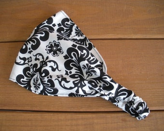Fabric Headband Womens Headband Accessories Women Headwrap Summer Headband Headscarf in White with Black Damask print