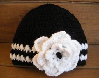 Black Crochet Hat Winter Fashion Accessories Womens Hat Beanie Cloche Winter Hat with White Stripes and Crochet Flower