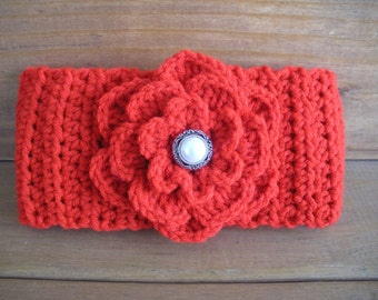 Crochet Headband Womens Headband Winter Fashion Accessories Women Earwarmer Red with Crochet flower - Choose color