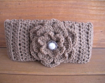 Womens Headband Crochet Headband Winter Fashion Accessories Women Earwarmer Light Brown with Crochet Flower - Choose color