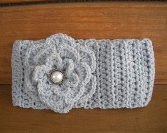 Womens Headband Crochet Headband Fashion Accessories Hair Women Earwarmer in Light Grey with Crochet Flower - Choose color