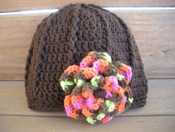 Crochet Hat Winter Fashion Cloche Womens Hat in Dark brown with Multicolor Crochet flower