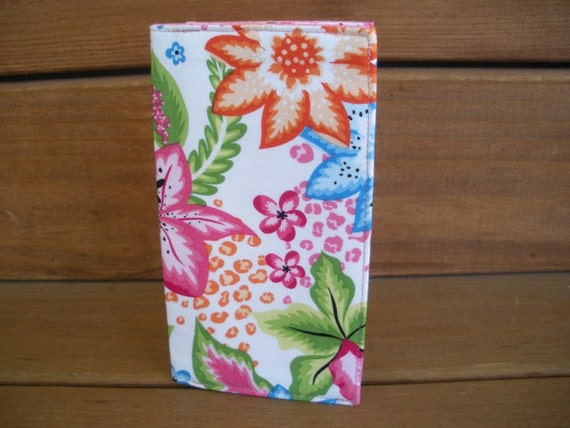 Fabric Checkbook Cover / Floral ID Wallet White with Pink Lily flower print / Ready to ship