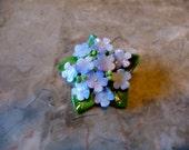 Vintage Cara China Enamel Flower Brooch.
