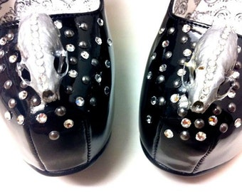 CLEARANCE- taxidermy fashion skull shoes, crystal encrusted high heels with ermine skulls and bones, taxidermy couture - BLACK MAGIC