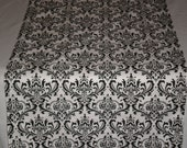 Damask (Madison Print) Table Runner-Perfect for Damask or Black White Event
