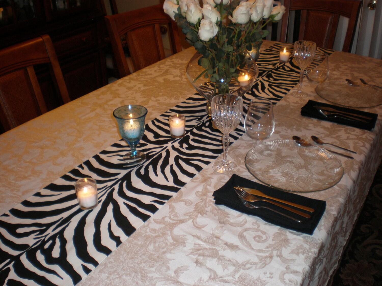 Black white zebra table runner by thimbleana on etsy for Decoration zebre
