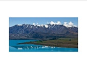 Limited Edition 6 x 12 Panoramic Fine Art Print of Lake Tekapo and Snow Capped Mountains in New Zealand