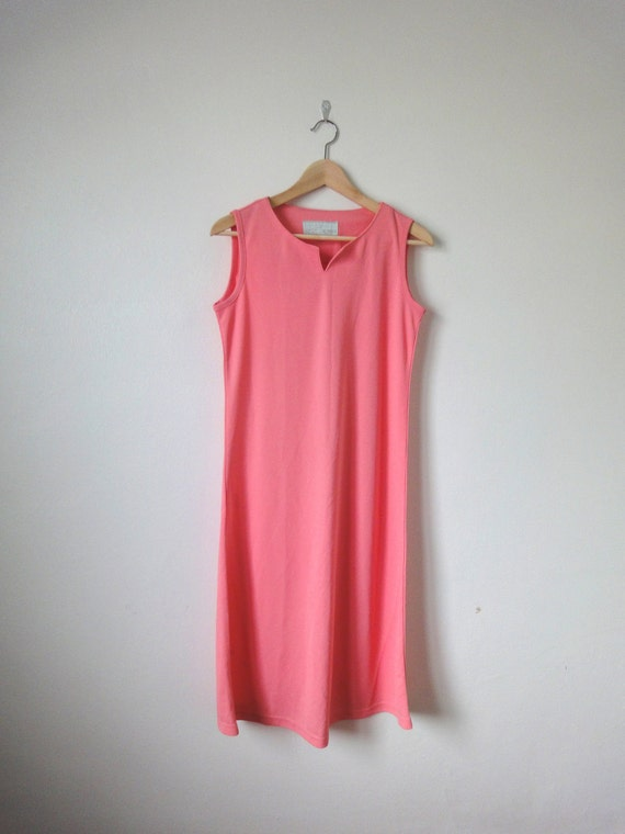 SALE 80s Hippies Pink Maxi Jersey Dress