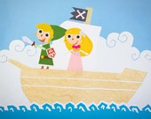 The Legend of Zelda - Phantom Hourglass 10x8 Print of Papercut Scene of Link and Zelda on a Pirate Ship