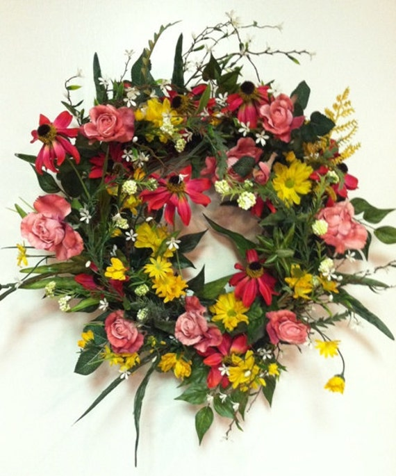 Spring Summer Wreath Pink Yellow Door Wreath