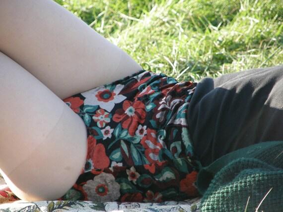 SALE floral velvet high waisted shorts hot pants