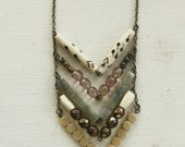 Chevron necklace. Tribal. Bone. Glass. Brass. Stone. Luella.