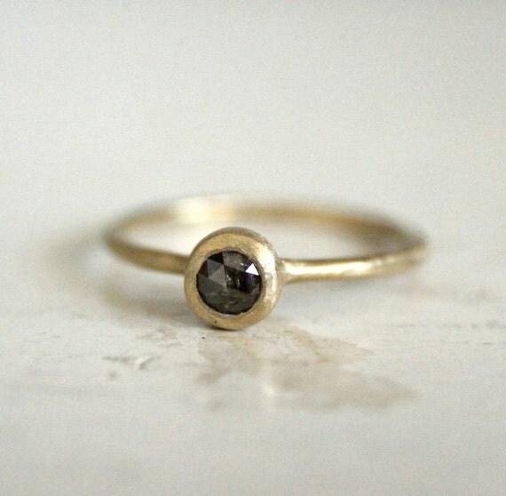 Rustic engagement rose cut diamond ring. Dark galaxy. Joplin