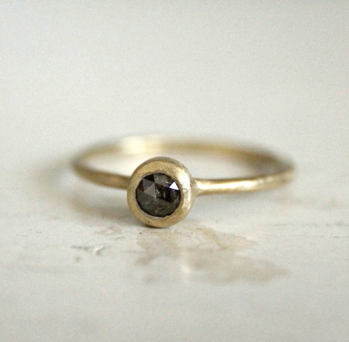Rustic Diamond: Rustic Engagement Rose Cut Diamond Ring. Dark Galaxy. Joplin