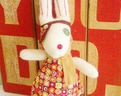 Glove Bunny, Rabbit, Easter, Pirate, Wool Softie, Butter Cream Colour