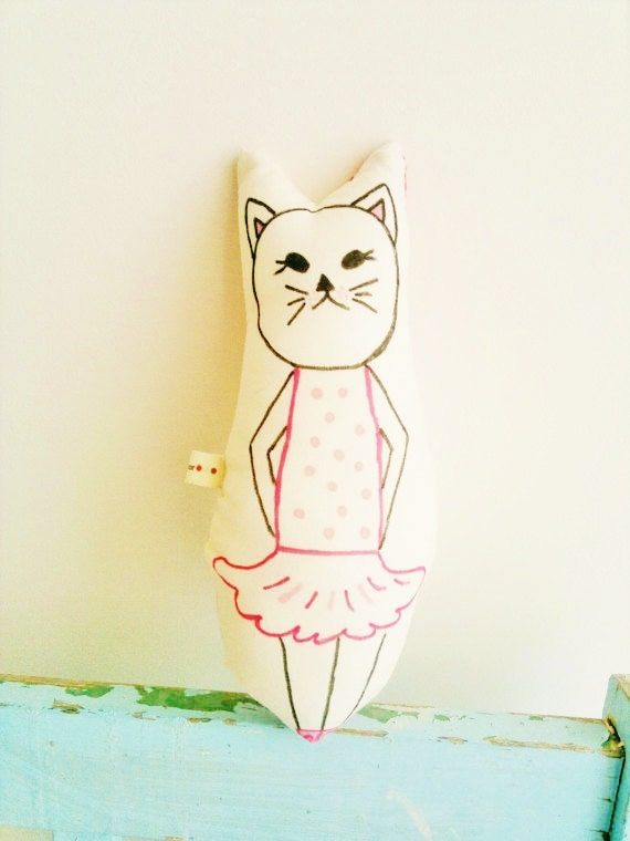 Cat Soft Toy, Pillow, Hand Painted, Ballerina, Pink Tutu