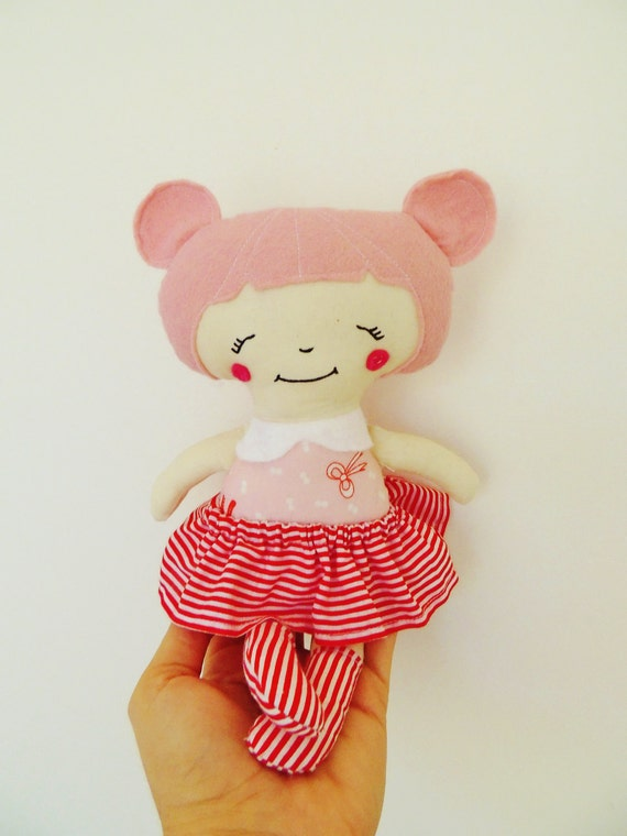 Doll, Cloth Doll, Pink, Candy Cane, Red, White, Handmade Doll, Pocket Doll