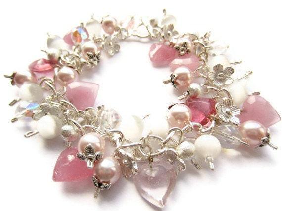 Pink Cluster Bracelet, Pink Swarovski Pearls, Glass Hearts, Charm Bracelet