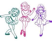 3 Dancers Embroidery Design - Instant Download