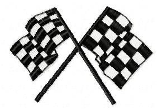 Racing Flags Embroidery Design - Instant Download