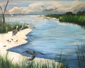 """Original acrylic """"St. Andrews Bay"""" painting of marsh with pelicans and seagulls"""
