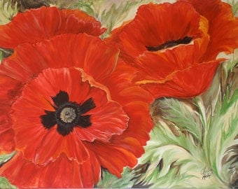 """Red poppy flowers painting """"Poppies"""" contemporary large acrylic."""