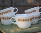 Pyrex Tea Cups, Set of 5, Butterfly Gold