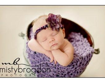 Lavender Baby Girl Blanket or Newborn Photography Prop