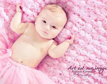 Princess Pink Baby Blanket Photography Prop PomPom Baby Blanket Throw
