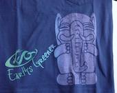 Smiling Elephant - Organic Youth/ Kids Clothing Cotton tee -  Purple, blue, green on Blue Tee Shirt - T-Shirt Youth LARGE