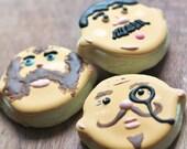 Mini Mustache Men Decorated Sugar Cookies