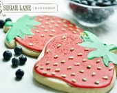 Large Strawberry Decorated Sugar Cookies - Fruit Edibles