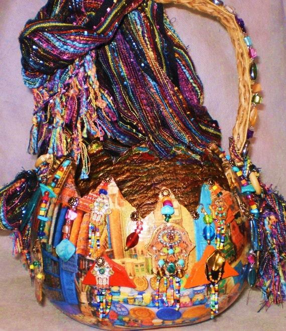 Gourd Art Basket Moroccan Motif With Hamsa Charms