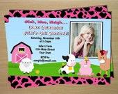 Barnyard Farm Animals Girl Birthday Invitation - Custom Printable