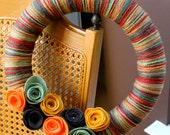 """funky and fresh - chic fall colored yarn wreath with felt flowers : """"the Autumn"""""""