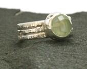 Sterling Silver Organic Ring. Green Prehnite