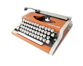 Vintage Typewriter Olympia, Orange and White