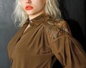VTG 80s Glam Studded Shoulder Leather Blouse Silk