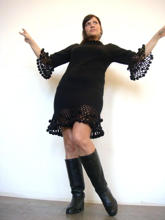 RESERVED VTG 50s 60s Barra of Italy black pom pom mod go go sweater crochet wool dress