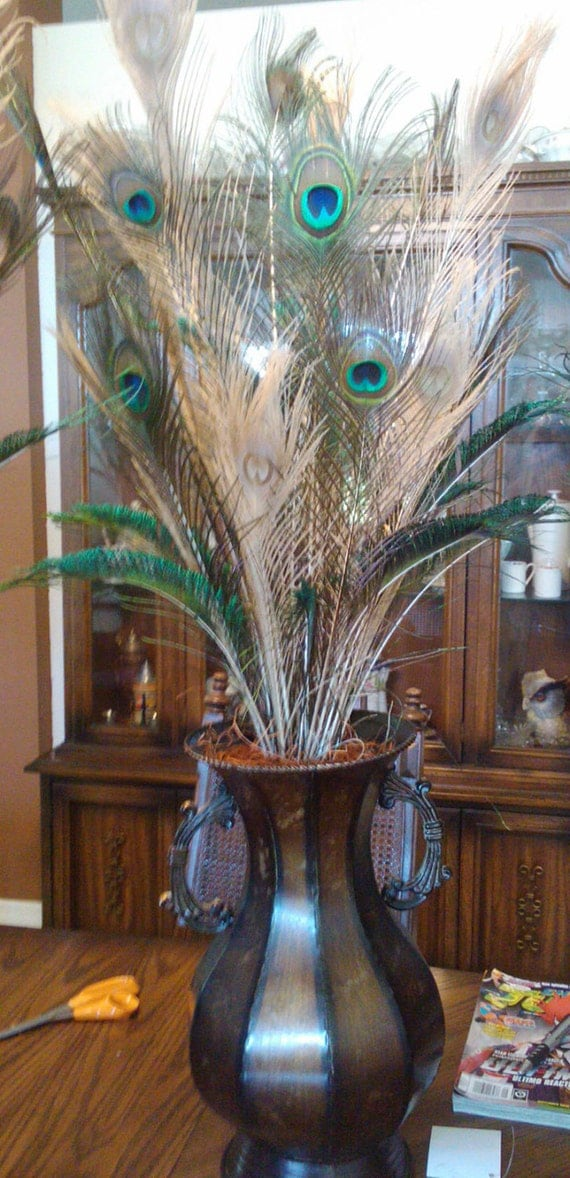 Items similar to peacock feather centerpieces in metal