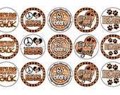 Bears INSPIRED Black & Orange Sports Team School Spirit Bottle Cap Images 4x6 Printable Bottlecap Collage INSTANT DOWNLOAD