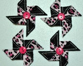 Posh Pinwheels on Pink Cheetah & Black Glitter Felt Embroidered Embellishment Clippie Cover SET of 4