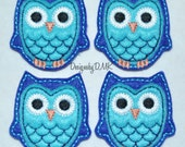 Dark Blue Owl with Brite Blue Belly Felt Embroidered Embellishment Applique Clippie Cover SET of 4