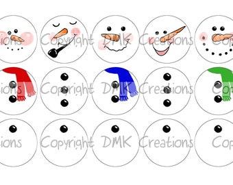 Build A Snowman Ornament SET 1 Bottle Cap Images 4x6 Printable Bottlecap Collage INSTANT DOWNLOAD