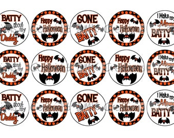 Gone Batty Halloween Bottle Cap Images 4x6 Printable Bottlecap Collage INSTANT DOWNLOAD