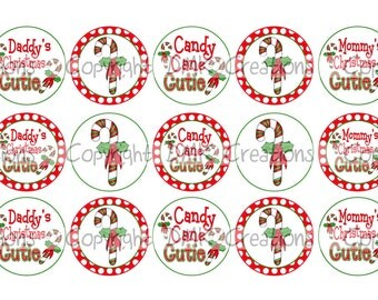 Candy Cane Cutie Christmas Bottle Cap Images 4x6 Printable Bottlecap Collage INSTANT DOWNLOAD