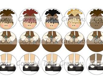 Build A Scout - BROWN Set 2 Ornament Bottle Cap Images 4x6 Printable Bottlecap Collage INSTANT DOWNLOAD