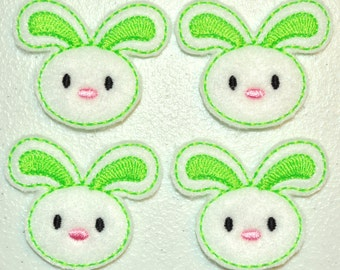 Lime Green Spring Bunny Felt Embroidered Embellishment Clippie Cover SET of 4