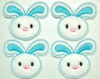 Brite Blue Spring Bunny Felt Embroidered Embellishment Clippie Cover SET of 4